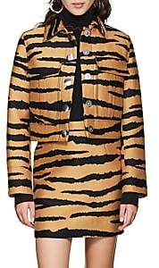 Proenza Schouler Women's Tiger-Pattern Wool-Silk Jacquard Crop Jacket - Camel