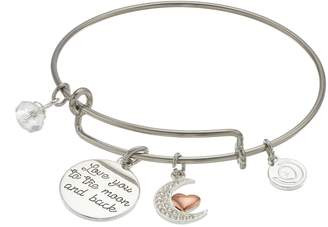 """Love This Life love this life Two Tone """"Love You to the Moon and Back"""" Charm Bangle Bracelet"""