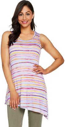 Logo By Lori Goldstein LOGO Layers by Lori Goldstein Printed Tank w/ Asymmetric Hem & High Slit