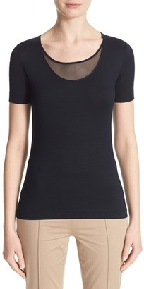 Women's Akris Punto Mesh Inset Scoop Neck Tee $340 thestylecure.com