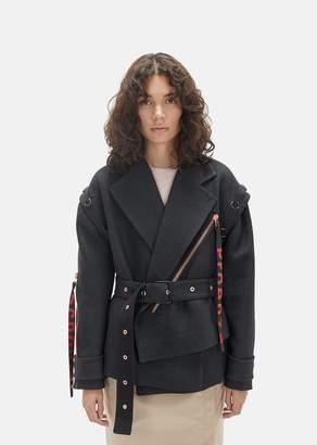 Proenza Schouler Asymmetric Twill Moto Jacket Charcoal Melange