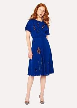 Women's Cobalt Blue Floral Embroidered Silk-Blend Dress