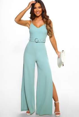 2c5dfbb9e649 Pink Boutique All Year Glam Duck Egg Blue Belted Split Leg Jumpsuit