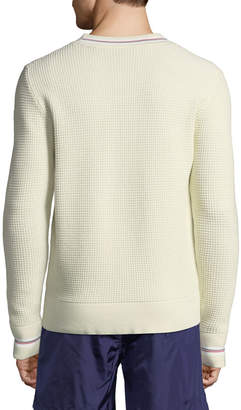 Moncler Men's Waffle-Knit Crewneck Pullover Sweater