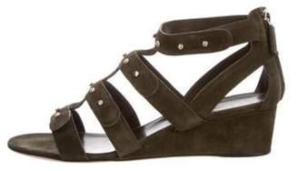 Gucci Suede Embellished Wedge Sandals Olive Suede Embellished Wedge Sandals