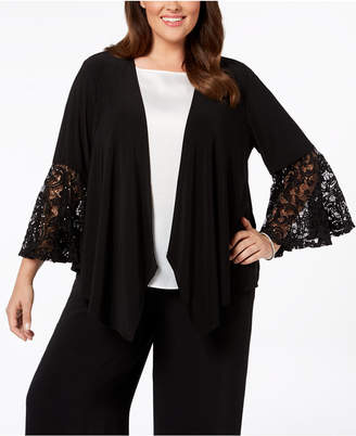 R & M Richards Plus Size Sequined Lace Bell-Sleeve Jacket