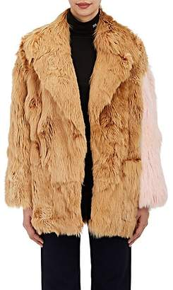 Calvin Klein Women's Colorblocked Suri Alpaca Fur Coat