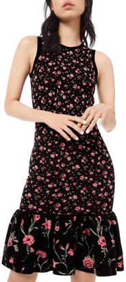 Michael Kors Embellished Floral-Print Jersey Flounce Dress
