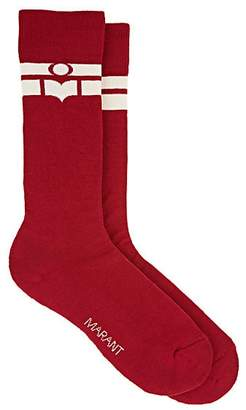 Isabel Marant Women's Vibe Logo-Striped Cotton-Blend Mid-Calf Socks - Red