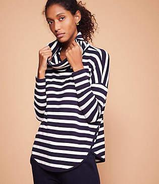 Lou & Grey Striped Signaturesoft Cowl Shirttail Top