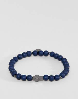 ICON BRAND Navy Beaded Bracelet With Cross Exclusive To ASOS