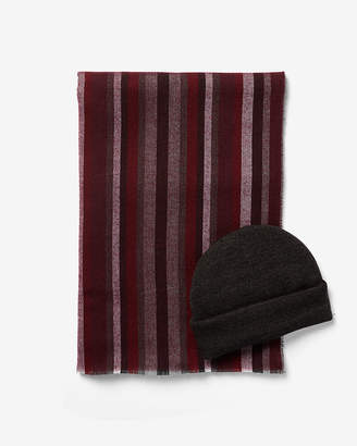 Express Stripe Scarf And Beanie Gift Set
