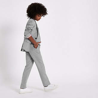 River Island Boys grey check suit pants