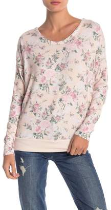 Chaser Love Knit Lace-Up Back Floral Pullover