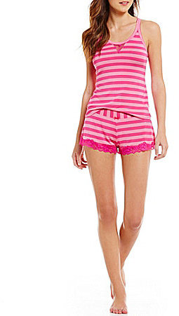 Betsey JohnsonBetsey Johnson Striped Knit & Dotted Mesh Racerback Pajamas