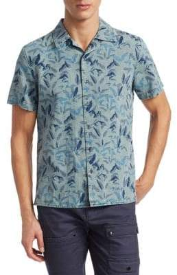 Madison Supply Woven Floral Short-Sleeve Cotton Button-Down Shirt