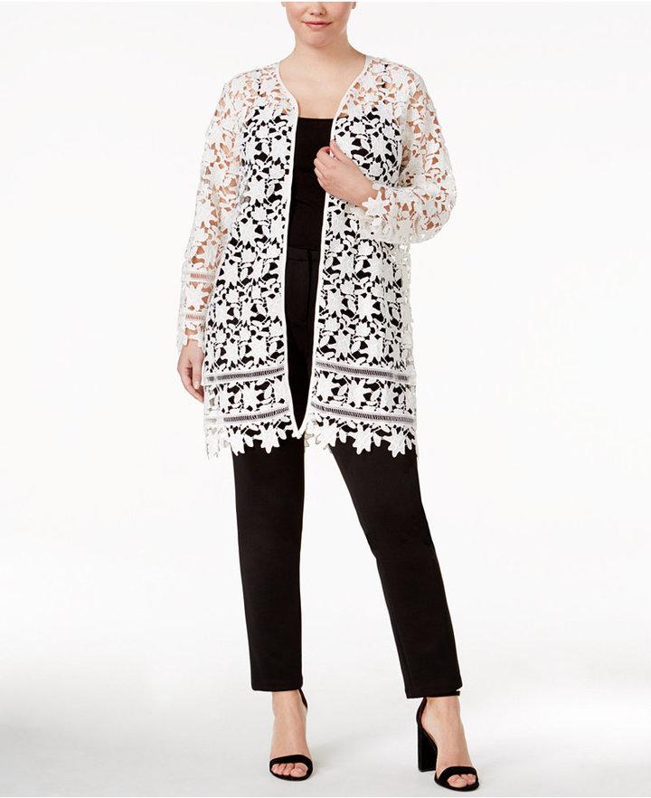 AlfaniAlfani Plus Size Lace Topper Jacket, Only at Macy's