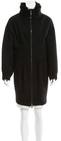 pradaPrada Fur-Trimmed Wool Coat