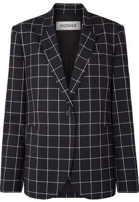 Monse Lace-up Checked Wool-crepe Blazer
