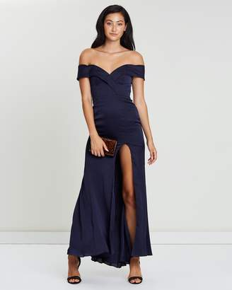Fame & Partners O Shoulder Split Gown