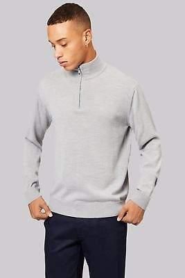 Mens Zip Neck Merino Wool Medium Knit Smart Jumper Silver Grey