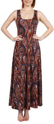 24/7 Comfort Apparel Women's Annie Red and Blue Print Maxi Dress