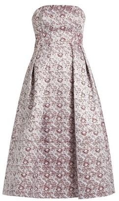 Erdem Alina Strapless Satin Jacquard Dress - Womens - Burgundy Multi