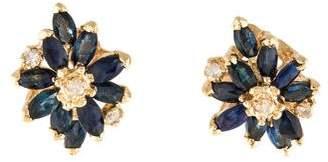 14K Sapphire & Diamond Floral Stud Earrings