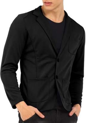 Unique Bargains Mens Notch Lapel Single Breasted Long Sleeve Casual Blazer