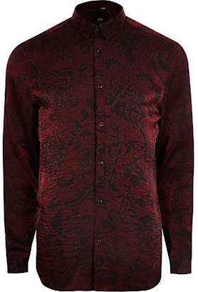 River Island Big and Tall red metallic print button shirt