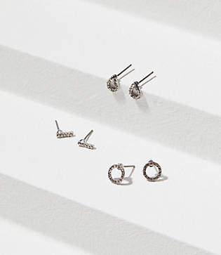 LOFT Mixed Pave Stud Earring Set