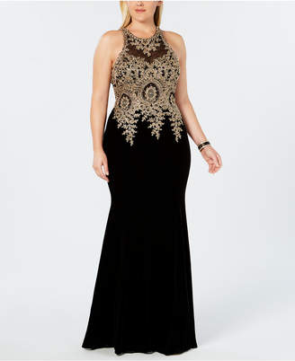 Xscape Evenings Plus Size Velvet Embroidered Gown