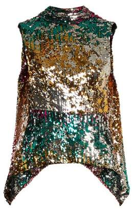 Halpern Sequin Embellished High Neck Sleeveless Top - Womens - Pink Multi