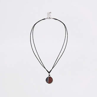 River Island Brown wooden circle rope necklace