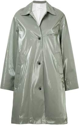 Song For The Mute wet look printed coat