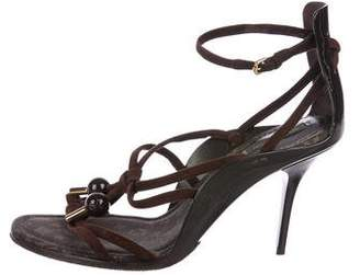 Louis Vuitton Patent Leather & Suede Sandals