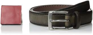 John Varvatos Men's 30 mm Bombay Edge Stitch Brush Off Veg Harness Buckle Belt