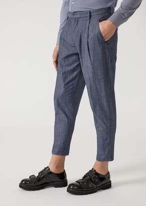 Emporio Armani Denim-Effect Stretch Cotton Trousers