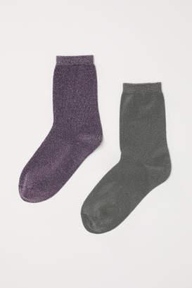 H&M 2-pack Glittery Socks - Pink