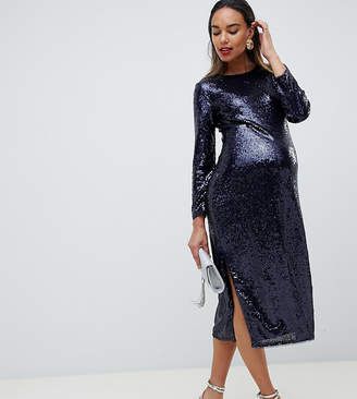 cce7dde801 TFNC Maternity Maternity sequin bodycon midi dress in navy