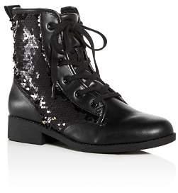 Steve Madden Girls' JRegal Sequin Combat Boots - Little Kid, Big Kid