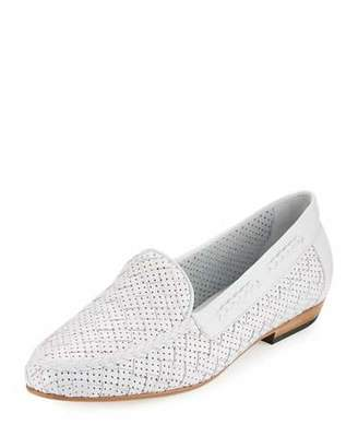 Sesto Meucci Nellie Perforated Woven Flat Loafer, White $255 thestylecure.com