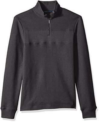 Perry Ellis Men's Quarter Zip Jacquard Sweater