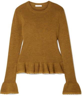 See by Chloe Ruffled Crochet-trimmed Wool Sweater - Brown
