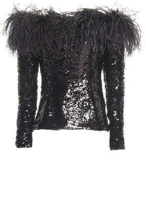 16Arlington Off-Shoulder Feather-Trim Sequin Top