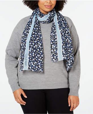 Calvin Klein Floral Stripe Chiffon Scarf