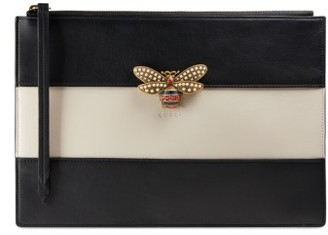 Gucci Bee Stripe Leather Pouch - Black $790 thestylecure.com