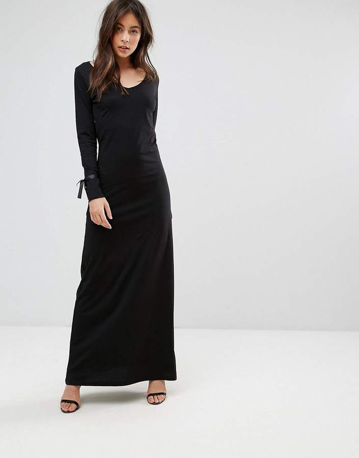 Only Maxi Dress With Tie Sleeve Detail