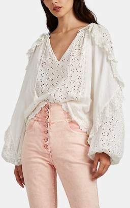 Ulla Johnson Women's Blanche Swiss Dot & Eyelet Cotton Blouse - White