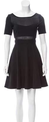 Elizabeth and James Short Sleeve Mesh-Paneled Mini Dress Black Short Sleeve Mesh-Paneled Mini Dress